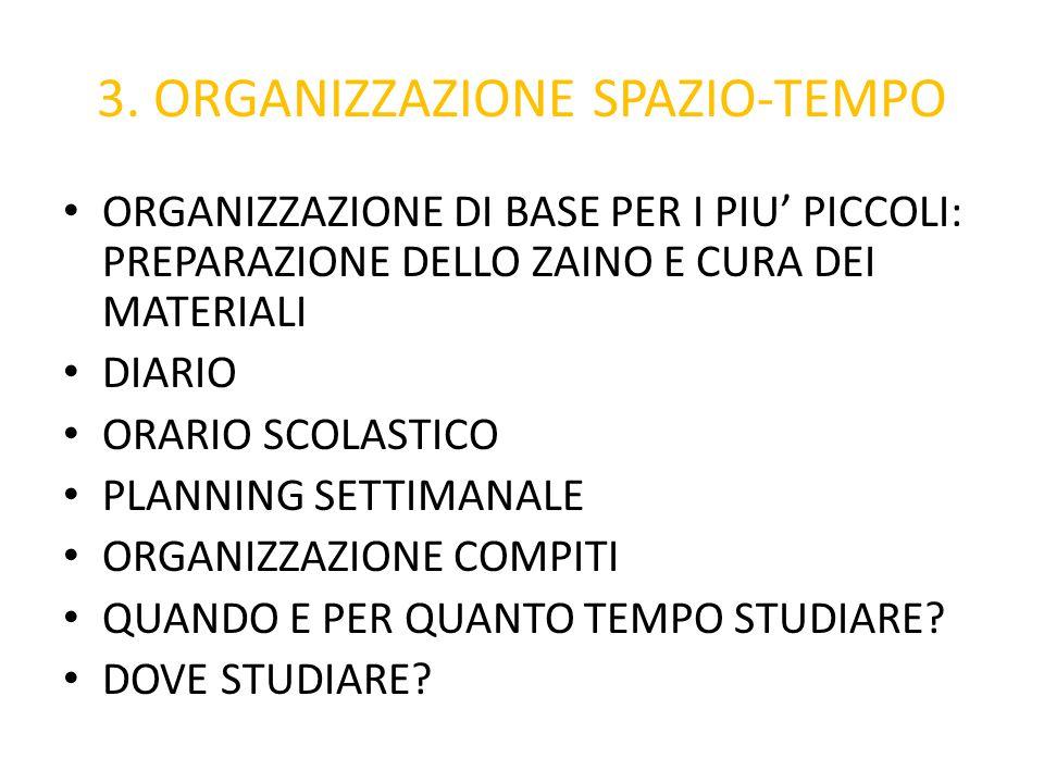 3. ORGANIZZAZIONE SPAZIO-TEMPO