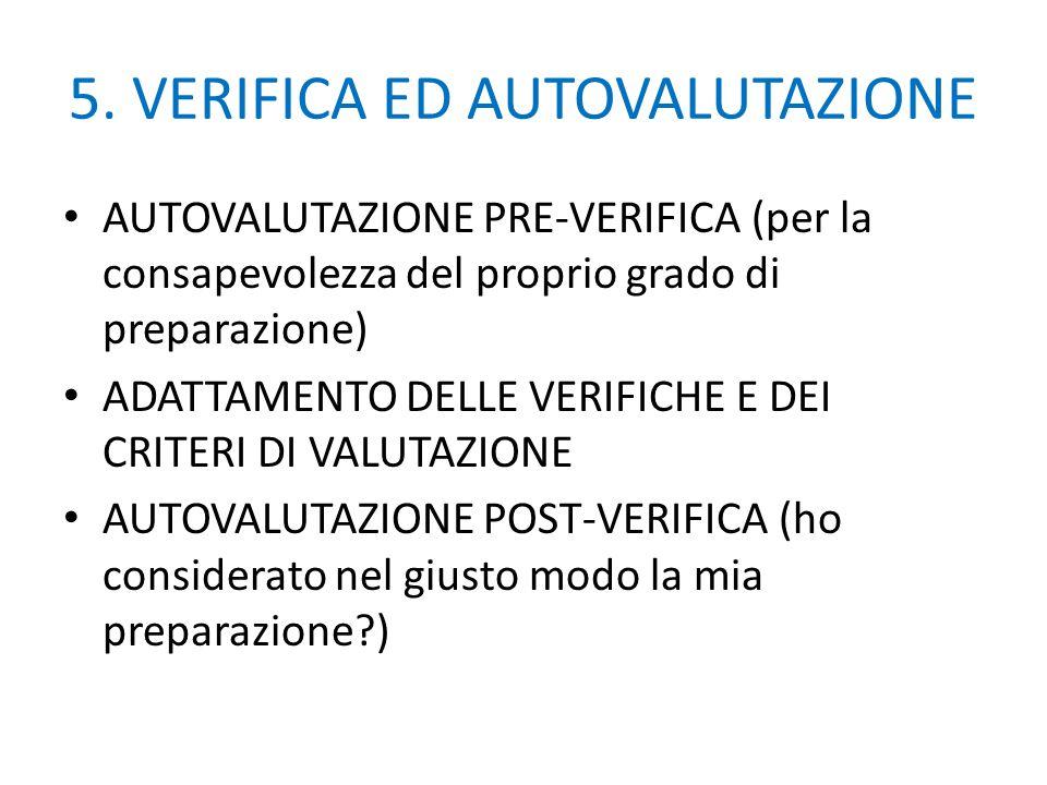5. VERIFICA ED AUTOVALUTAZIONE