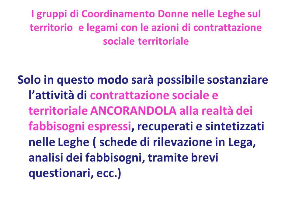 I gruppi di Coordinamento Donne nelle Leghe sul territorio e legami con le azioni di contrattazione sociale territoriale