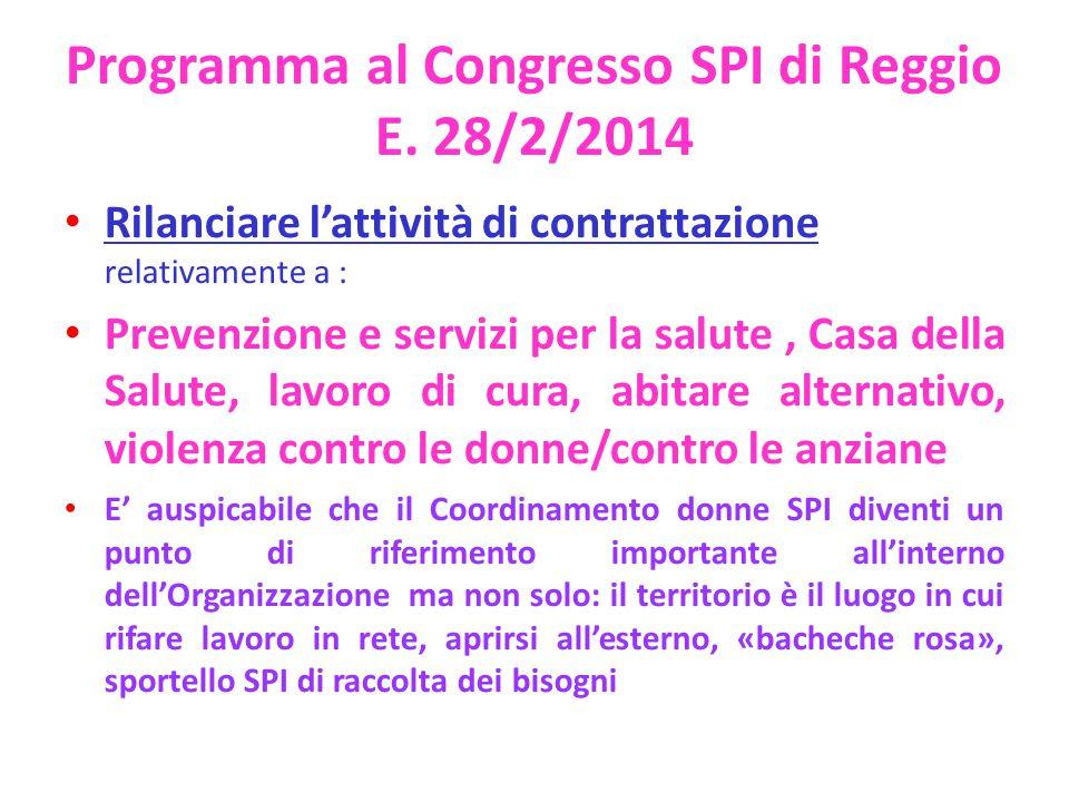 Programma al Congresso SPI di Reggio E. 28/2/2014