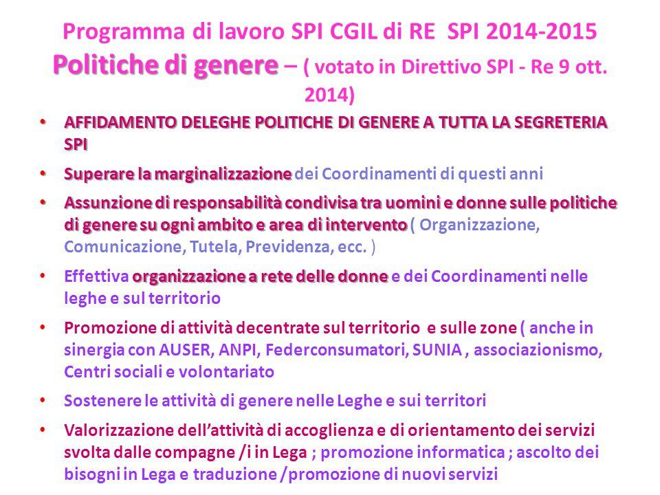 Politiche di genere – ( votato in Direttivo SPI - Re 9 ott. 2014)