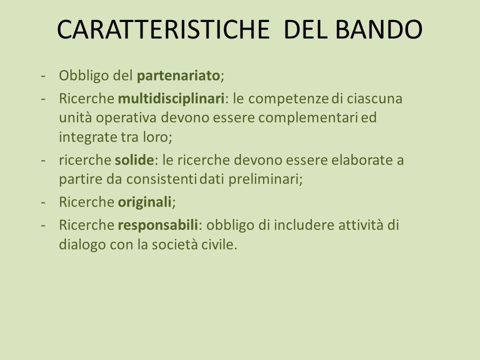 CARATTERISTICHE DEL BANDO
