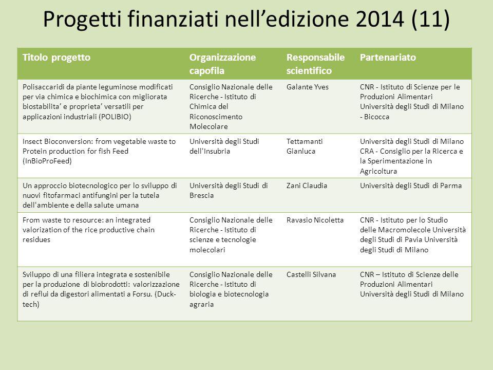 Progetti finanziati nell'edizione 2014 (11)