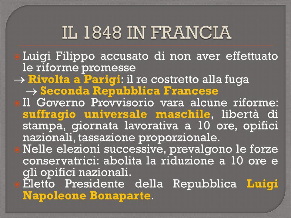 IL 1848 IN FRANCIA Luigi Filippo accusato di non aver effettuato le riforme promesse.  Rivolta a Parigi: il re costretto alla fuga.