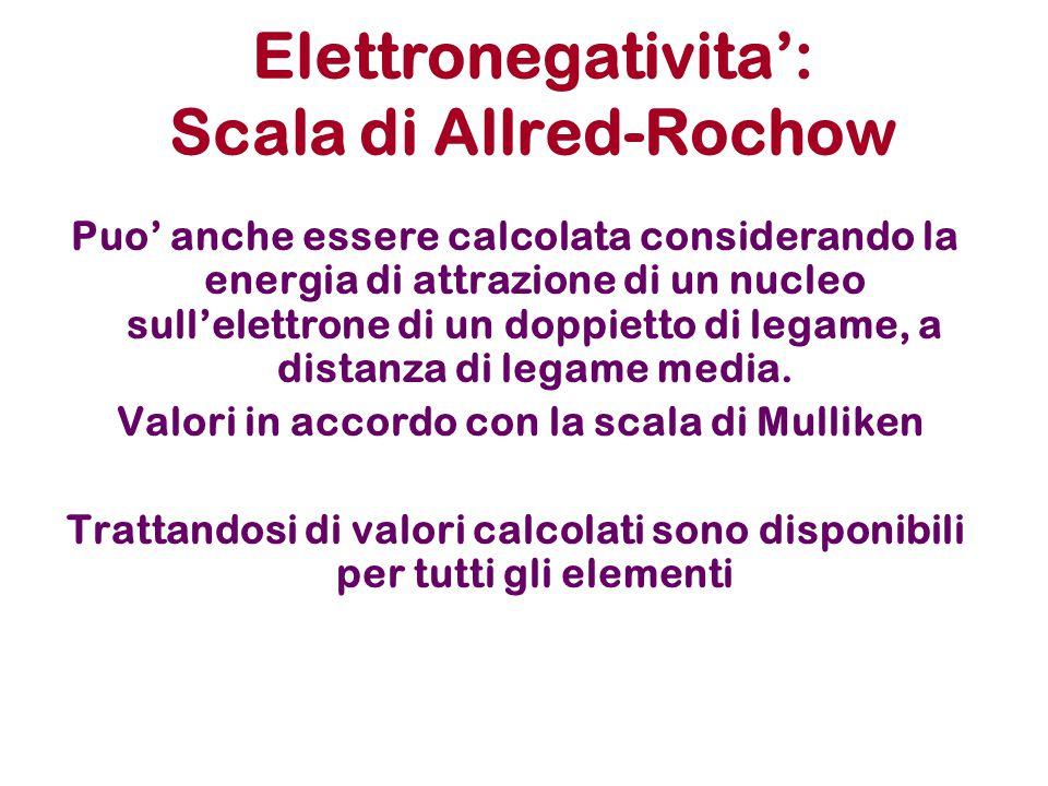 Elettronegativita': Scala di Allred-Rochow