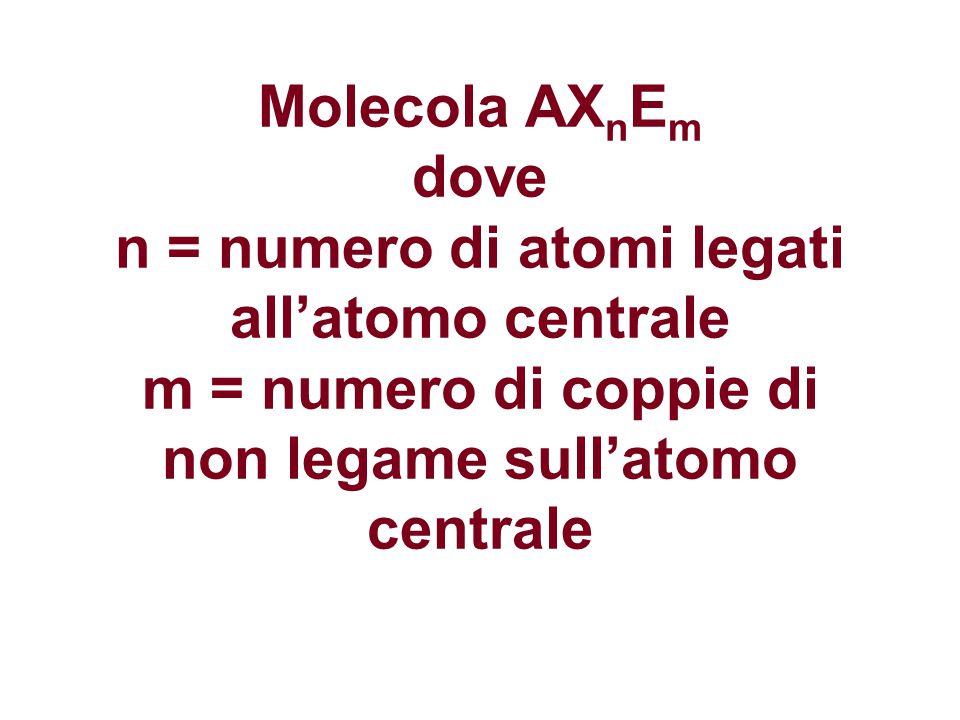 Molecola AXnEm dove n = numero di atomi legati all'atomo centrale m = numero di coppie di non legame sull'atomo centrale