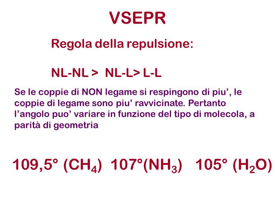 VSEPR 109,5° (CH4) 107°(NH3) 105° (H2O) Regola della repulsione: