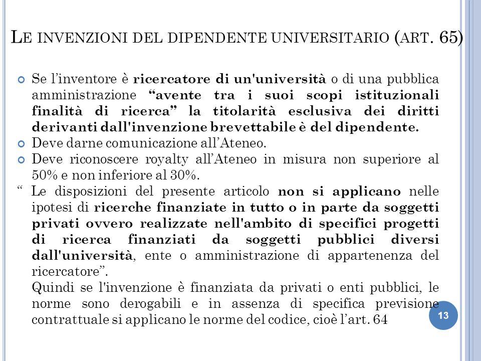 Le invenzioni del dipendente universitario (art. 65)