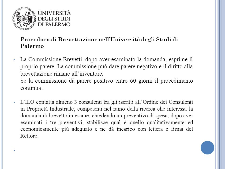 Procedura di Brevettazione nell'Università degli Studi di Palermo
