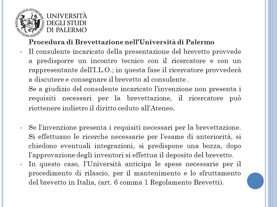 Procedura di Brevettazione nell'Università di Palermo