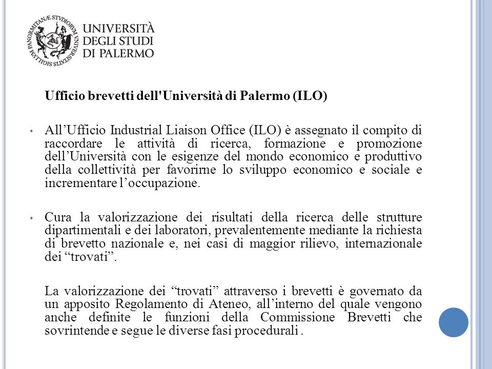 Ufficio brevetti dell Università di Palermo (ILO)