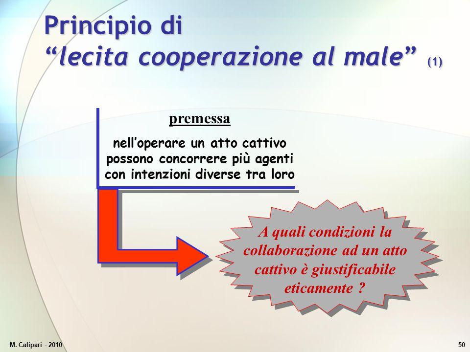 Principio di lecita cooperazione al male (1)