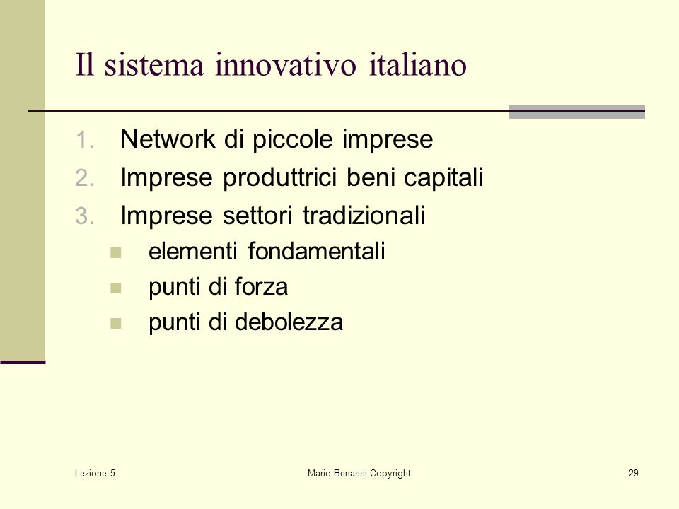 Il sistema innovativo italiano