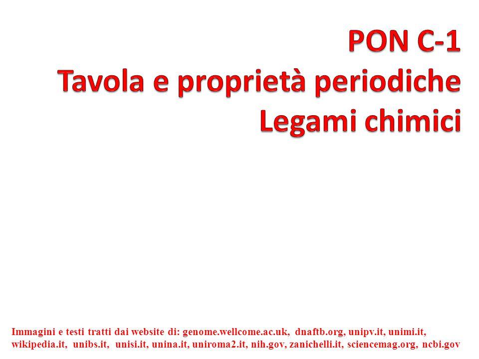 PON C-1 Tavola e proprietà periodiche Legami chimici