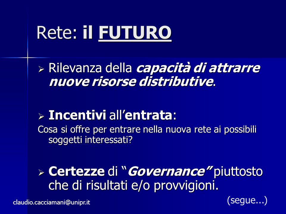 Rete: il FUTURO Rilevanza della capacità di attrarre nuove risorse distributive. Incentivi all'entrata: