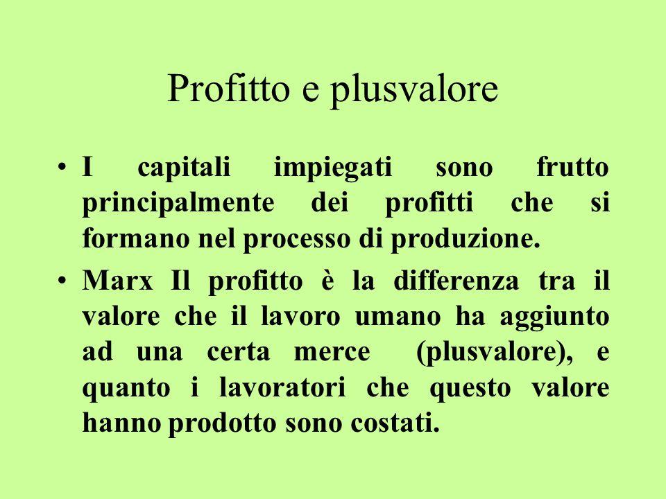 Profitto e plusvalore I capitali impiegati sono frutto principalmente dei profitti che si formano nel processo di produzione.