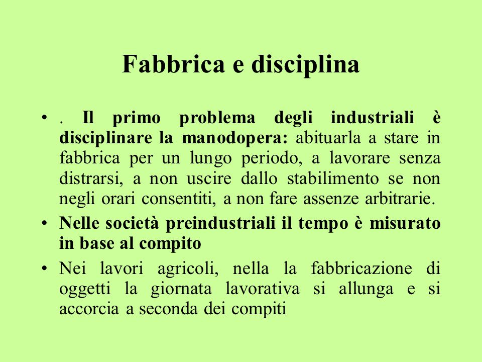 Fabbrica e disciplina