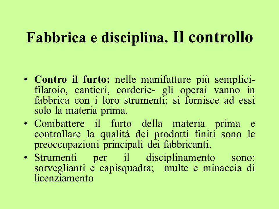 Fabbrica e disciplina. Il controllo