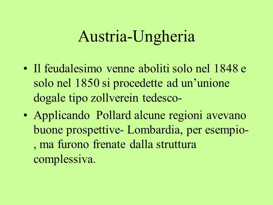 Austria-Ungheria Il feudalesimo venne aboliti solo nel 1848 e solo nel 1850 si procedette ad un'unione dogale tipo zollverein tedesco-