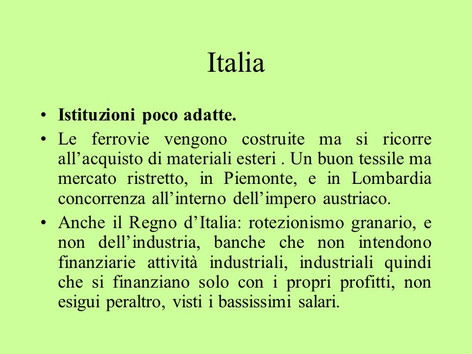 Italia Istituzioni poco adatte.