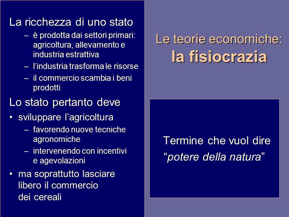 Le teorie economiche: la fisiocrazia