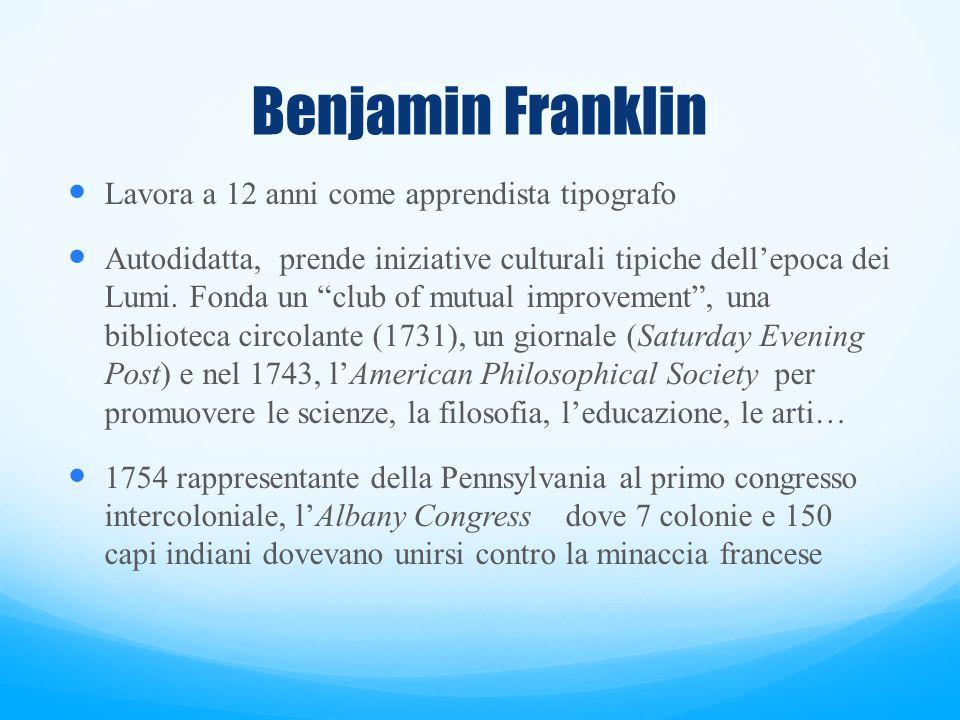 Benjamin Franklin Lavora a 12 anni come apprendista tipografo