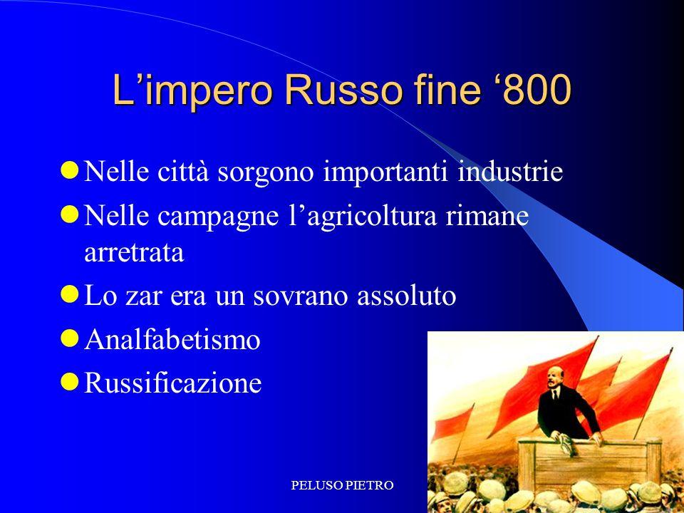 L'impero Russo fine '800 Nelle città sorgono importanti industrie