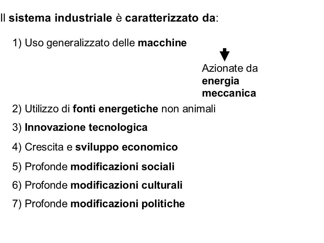 Il sistema industriale è caratterizzato da:
