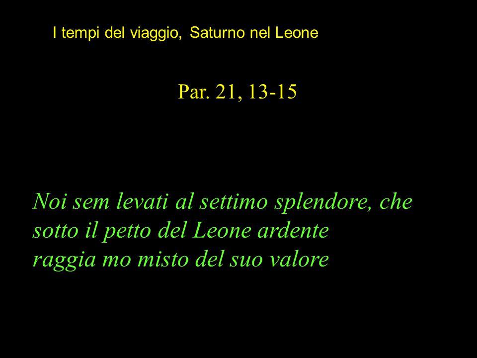 I tempi del viaggio, Saturno nel Leone