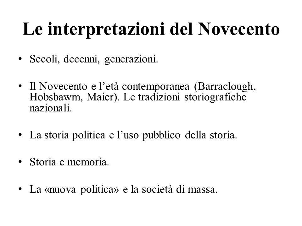 Le interpretazioni del Novecento