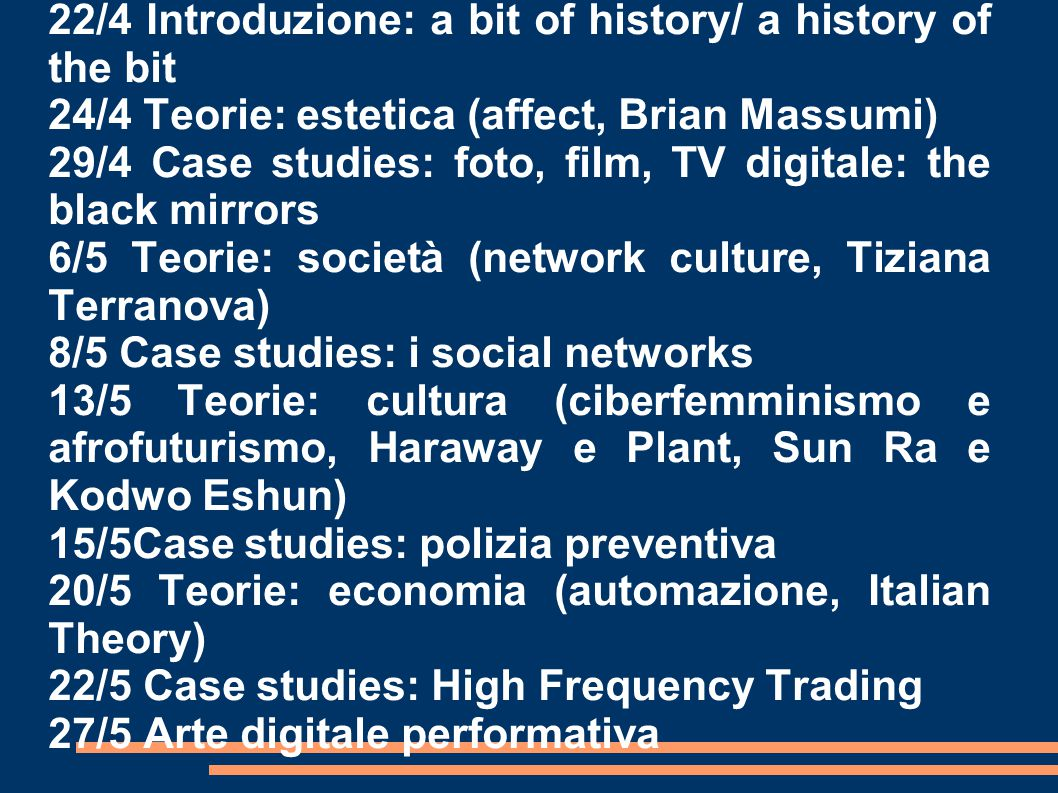 22/4 Introduzione: a bit of history/ a history of the bit
