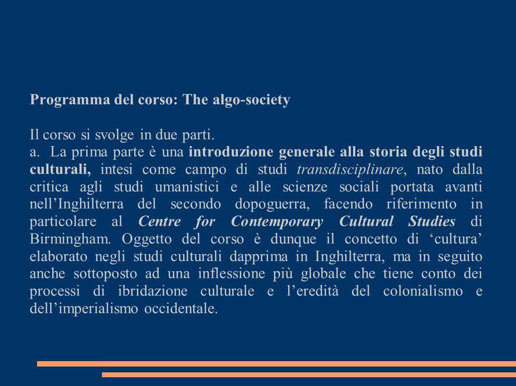 Programma del corso: The algo-society