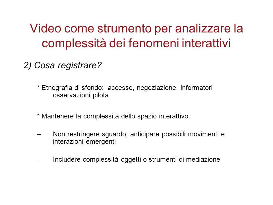 Video come strumento per analizzare la complessità dei fenomeni interattivi
