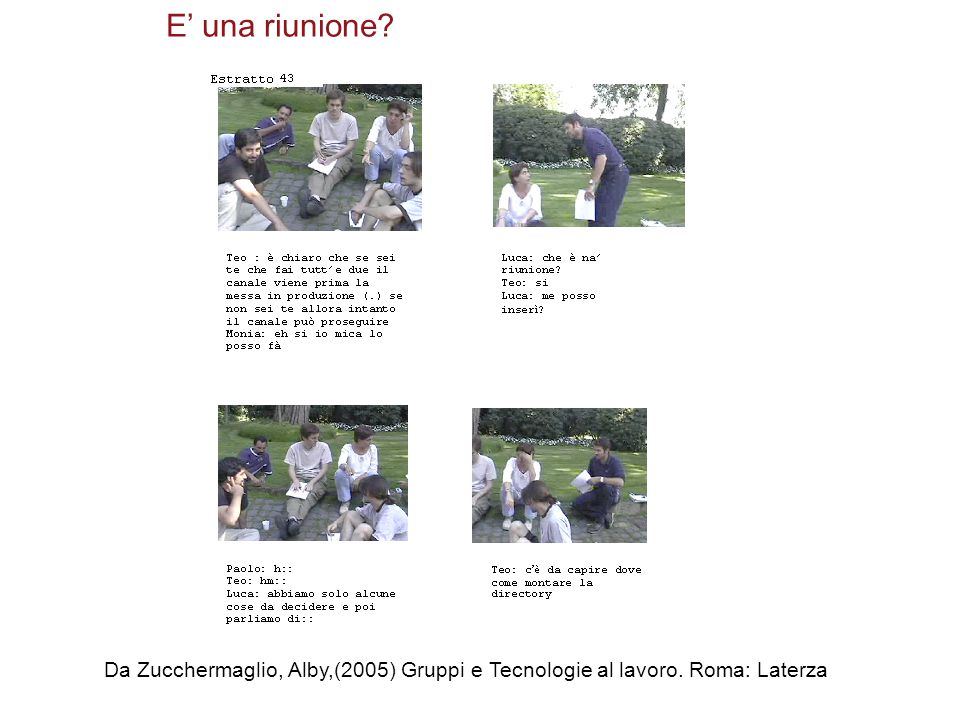 E' una riunione Da Zucchermaglio, Alby,(2005) Gruppi e Tecnologie al lavoro. Roma: Laterza
