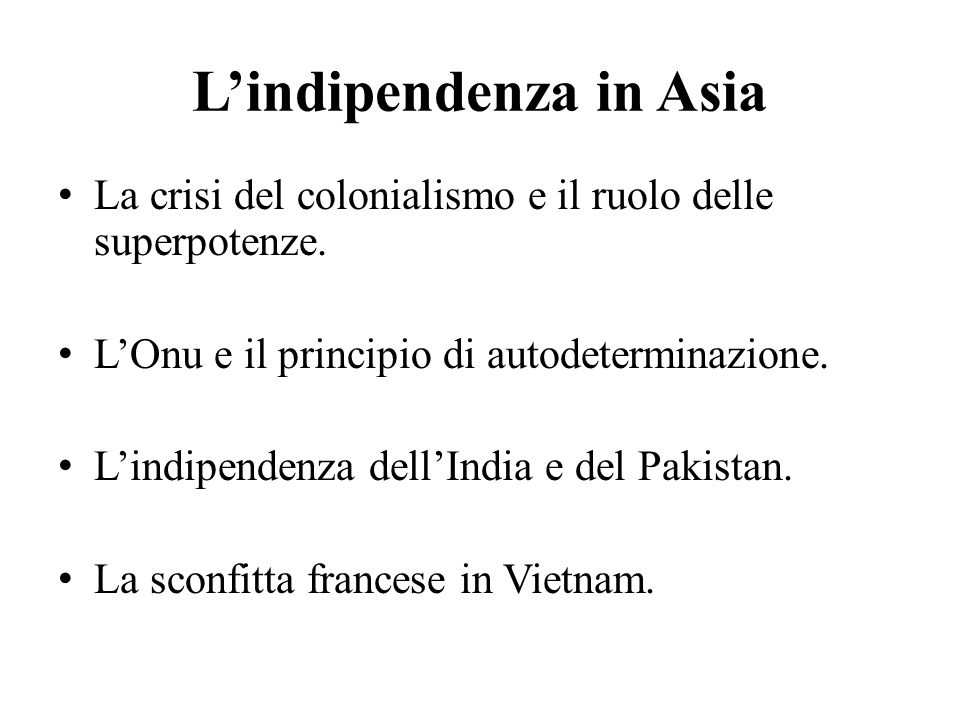 L'indipendenza in Asia
