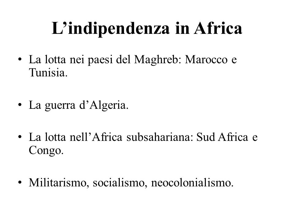 L'indipendenza in Africa