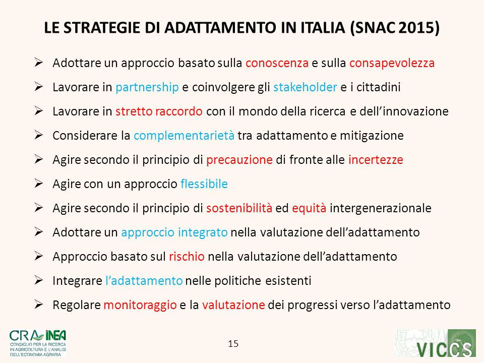 LE STRATEGIE DI ADATTAMENTO IN ITALIA (SNAC 2015)