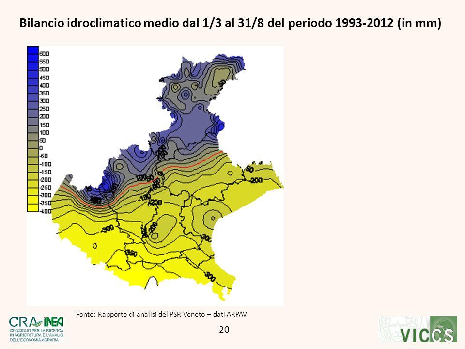 Fonte: Rapporto di analisi del PSR Veneto – dati ARPAV