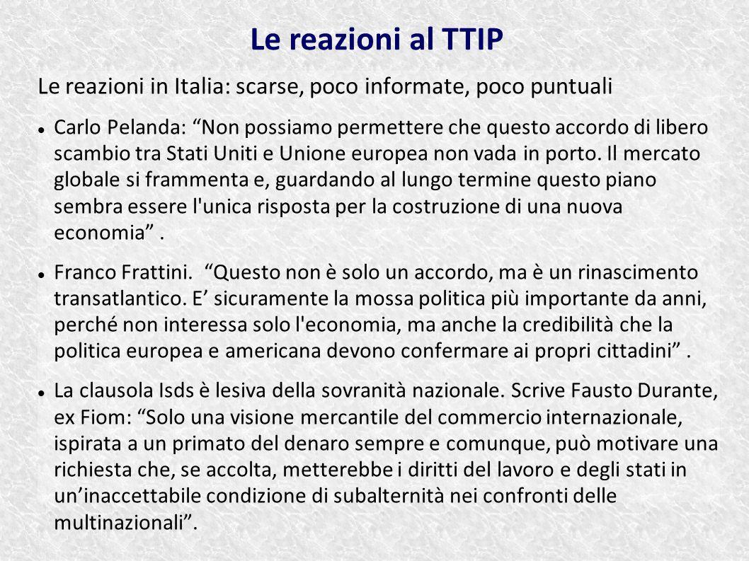 Le reazioni al TTIP Le reazioni in Italia: scarse, poco informate, poco puntuali.