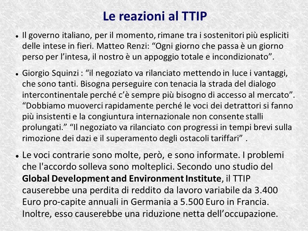 Le reazioni al TTIP