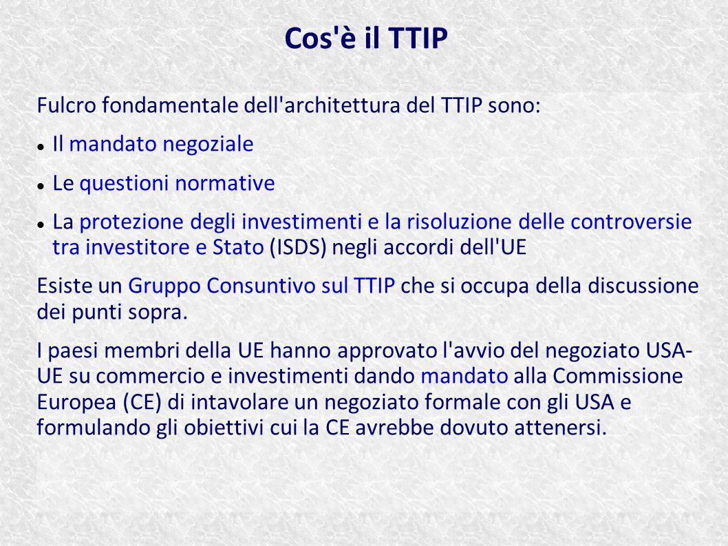 Cos è il TTIP Fulcro fondamentale dell architettura del TTIP sono: