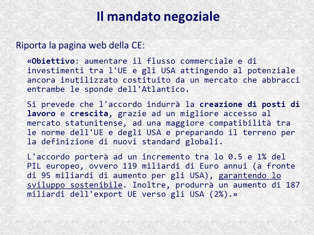 Il mandato negoziale Riporta la pagina web della CE: