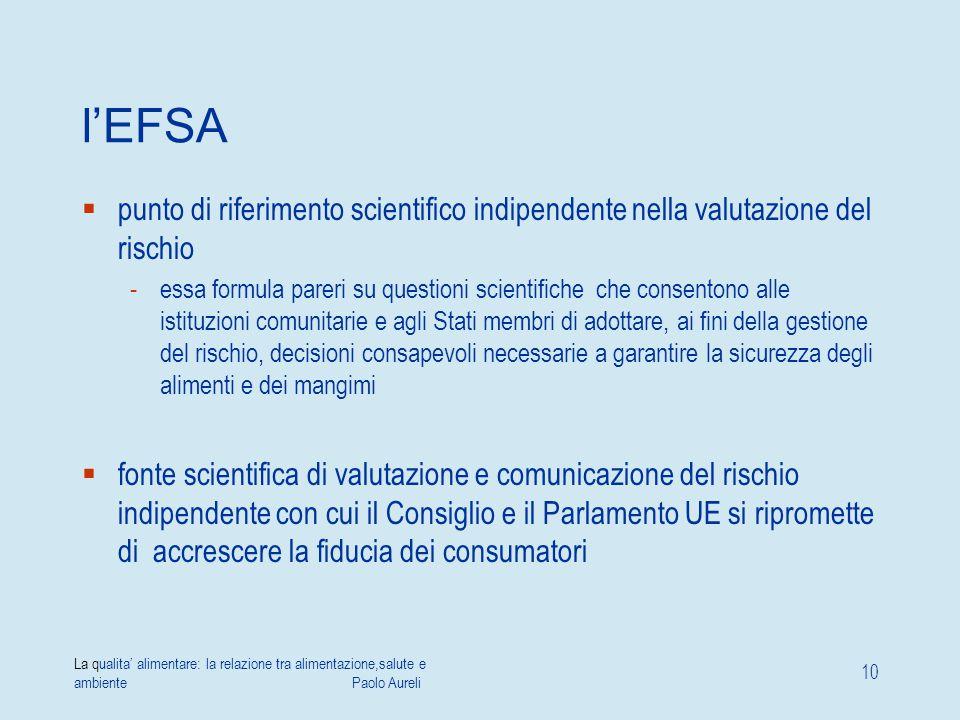 l'EFSA punto di riferimento scientifico indipendente nella valutazione del rischio.