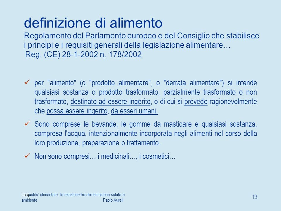 definizione di alimento Regolamento del Parlamento europeo e del Consiglio che stabilisce i principi e i requisiti generali della legislazione alimentare… Reg. (CE) 28-1-2002 n. 178/2002