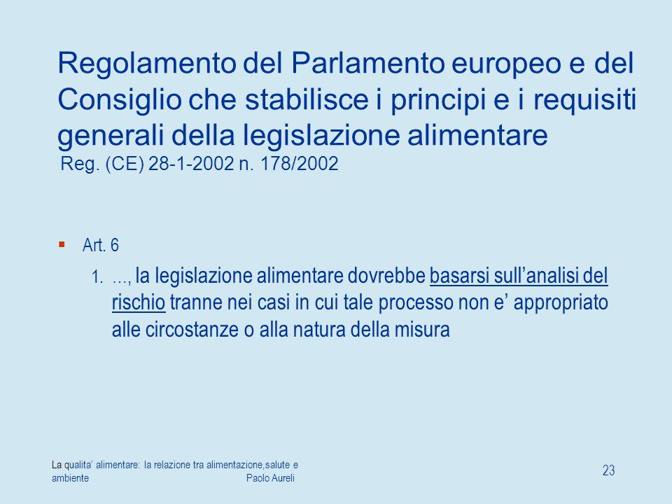 Regolamento del Parlamento europeo e del Consiglio che stabilisce i principi e i requisiti generali della legislazione alimentare Reg. (CE) 28-1-2002 n. 178/2002