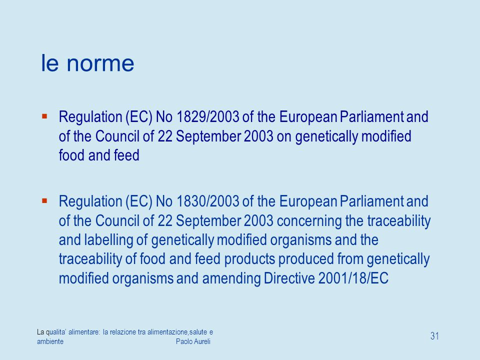 le norme Regulation (EC) No 1829/2003 of the European Parliament and of the Council of 22 September 2003 on genetically modified food and feed.
