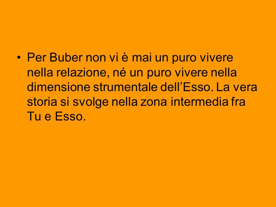Per Buber non vi è mai un puro vivere nella relazione, né un puro vivere nella dimensione strumentale dell'Esso.