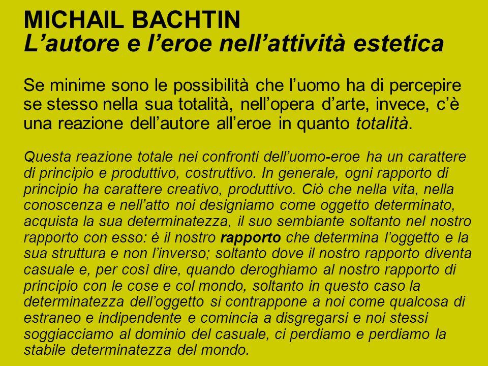 MICHAIL BACHTIN L'autore e l'eroe nell'attività estetica