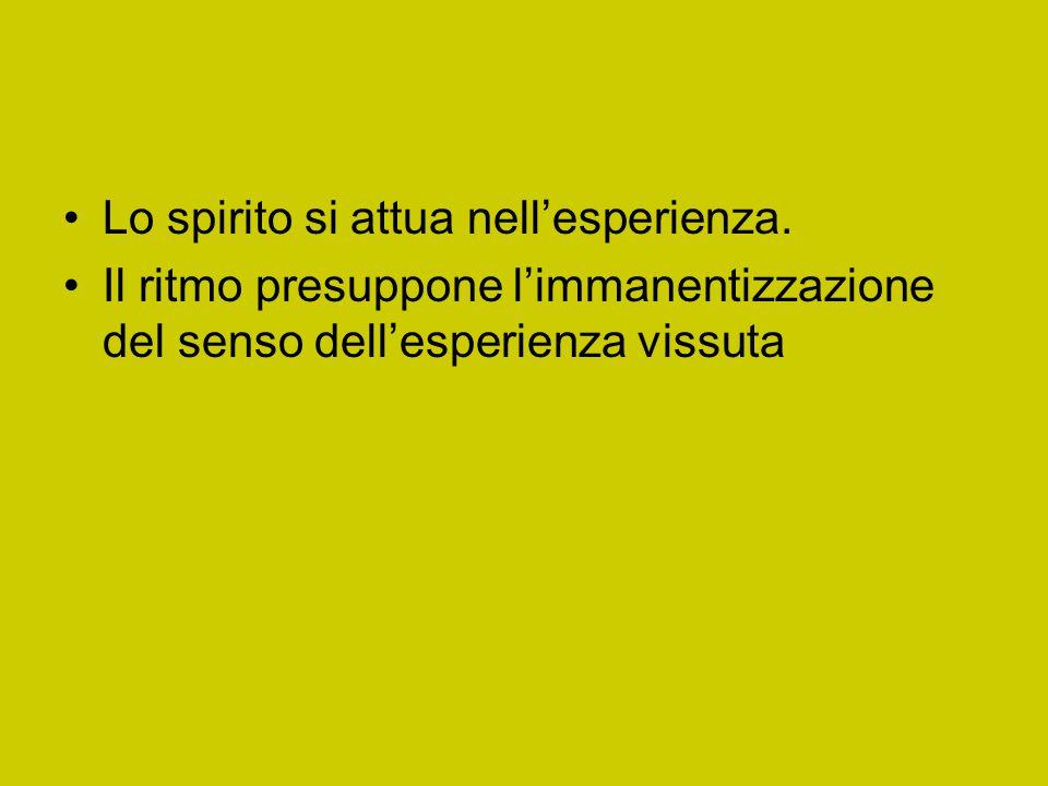 Lo spirito si attua nell'esperienza.