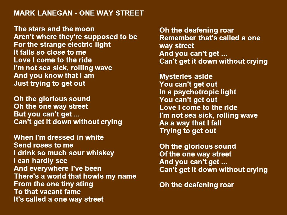 MARK LANEGAN - ONE WAY STREET